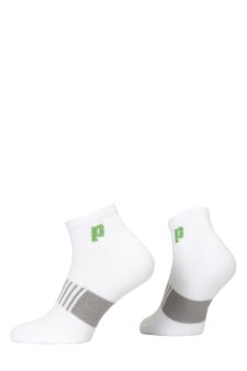 PR00760 - Prince Classic Dry Cotton Lycra Men Quarter White Green Socks