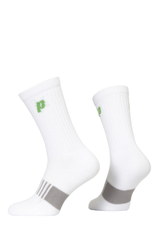 PR00761 - Prince Classic Dry Cotton Lycra Men Crew White Green Socks