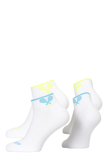PR00791 - Prince Team Ladies Quarter White Turquoise White Yellow Socks