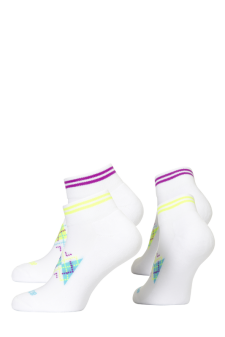 PR00794 - Prince Team Ladies Quarter White Turquoise White Purple Socks